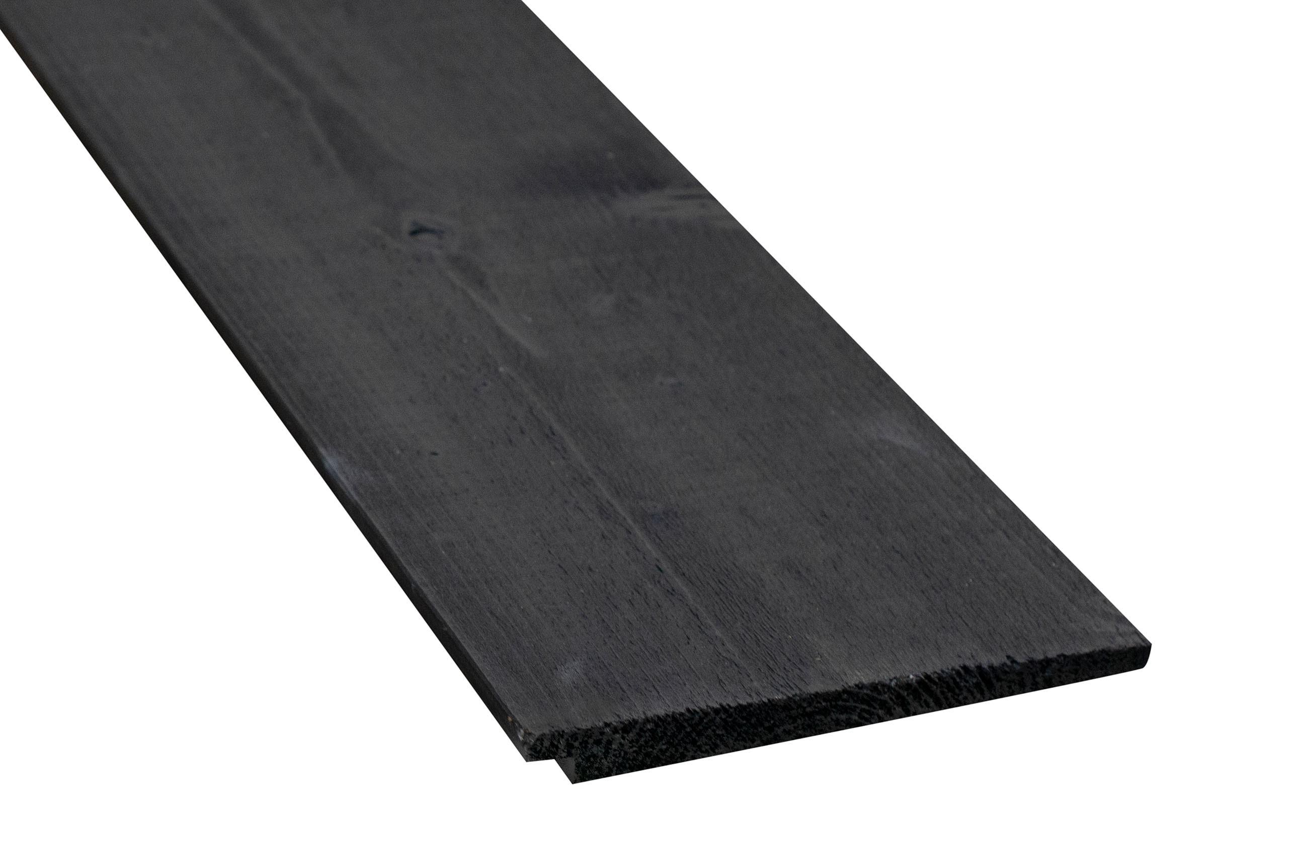 Vuren gemodificeerd Zweeds Rabat zwart gebeitst  fijnbezaagd/ 10/21 mm 175 mm werkend lengte 5,10 m