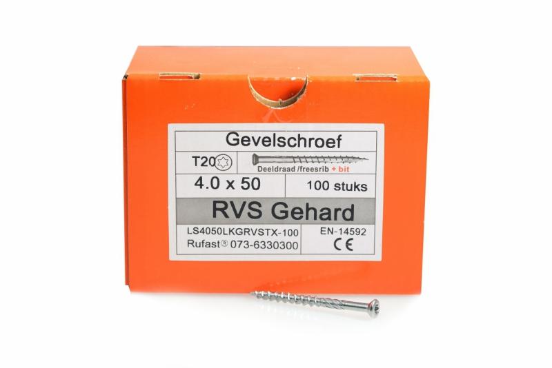 Gevelschroef RVS 50mm