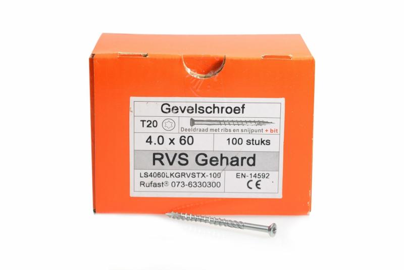 Gevelschroef RVS 60mm